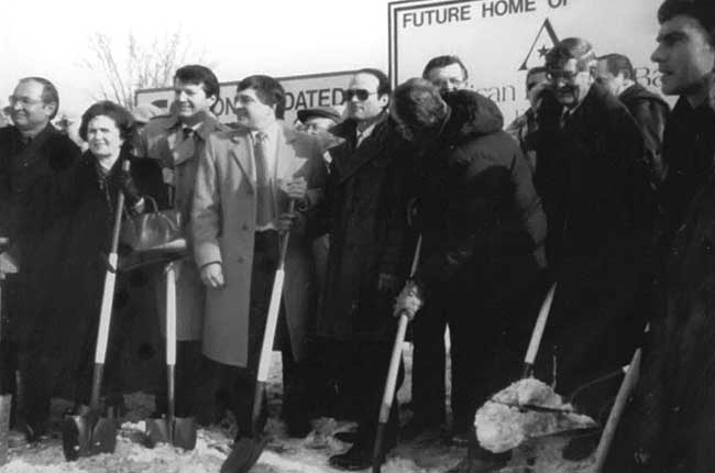Historical photo of American National Bank's ground breaking ceremony